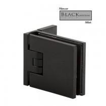 Flamea+ scharnier wand/glas 90º enkele schroefplaat incl. afdekplaatjes. Mat zwart