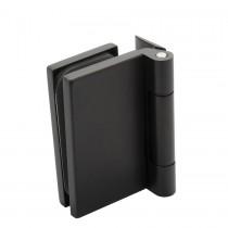 Scharnier mat zwart RAL9005 voor stompe glazen deur