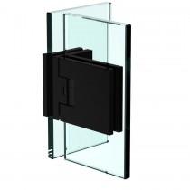 Flamea+ scharnier glas/glas 90º incl. afdekplaatjes mat zwart finish getest voor gebruik in sauna