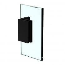 Flamea+ glasklem glas-wand 90º plaat voorzien van slobgaten mat zwart getest voor gebruik in sauna