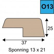 Opdeklat model O13 - 25 x 37 mm met een sponning van 13 x 21 mm
