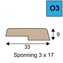 Opdeklat model O3 - 9 x 33mm met sponning 3 x 17 mm