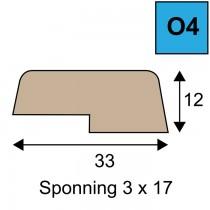 Opdeklat model O4 - 12 x 33 mm met sponning 3 x 17 mm
