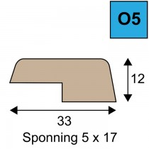 Opdeklat model O5 - 12 x 33 mm met sponning 5 x 17mm