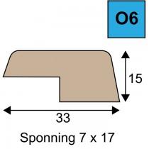 Opdeklat model O6 15 x 33 mm met sponning 7 x 17 mm