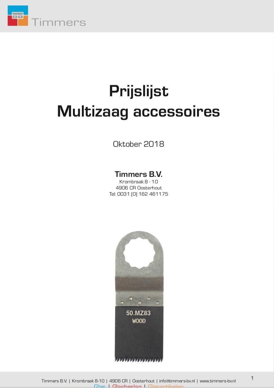 Prijslijst multizaag accessoires